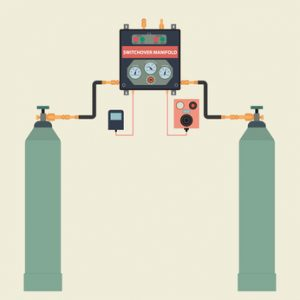 Installation of gas cylinders with remote and alarm. Vector illustration in a flat style.